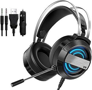 AVEDISTANTE Auriculares Gaming para PS4 3.5mm Jack, PC, Xbox One, Cascos con Micrófono Cancelación de Ruido, Auriculares para Nintendo Switch Mac Sonidos Envolventes