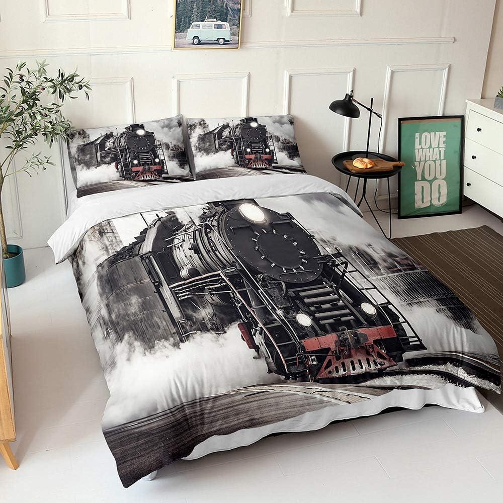 3- Pcs Old Black Outlet SALE Sale Special Price Steam Train Queen Set Engine 3D Bedding P
