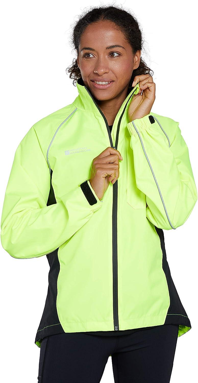 Mountain Warehouse Chaqueta Impermeable Adrenaline Mujer - Chaqueta Transpirable Alta Visibilidad Mujer, Chaqueta Lluvia Reflectante - Ciclismo & Running