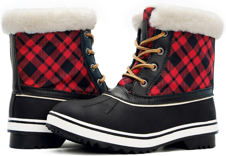GLOBALWIN Women's 1727 Waterproof Snow Boots (8 (M) US Women's, 1727BLACK RED)