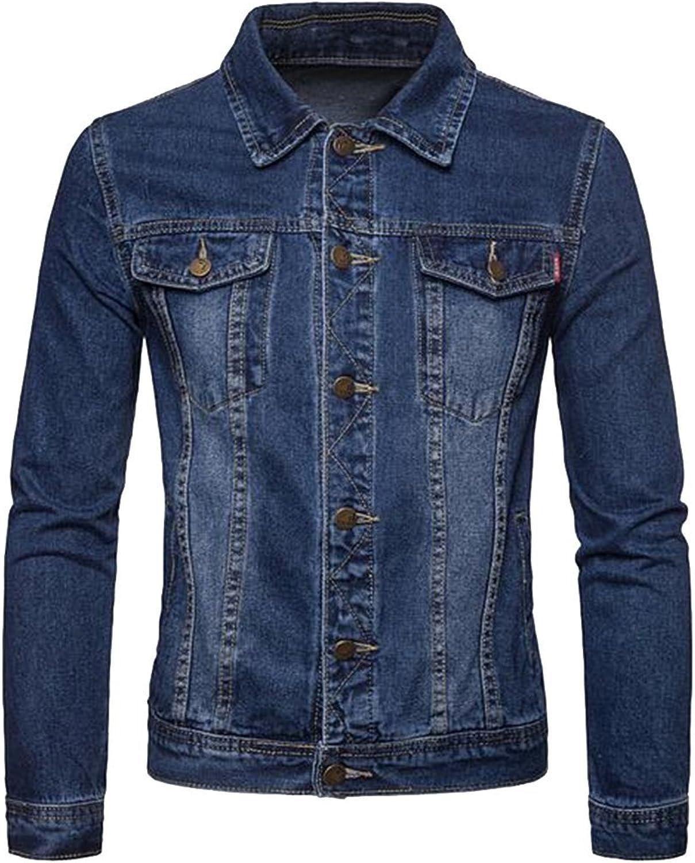 b22d3d54226 Suncolor8 Men Solid Regular Regular Regular Fit Washed Long Sleeve Denim  Jacket Coat 3aa562