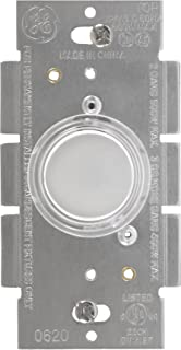 GE Dimmer, Single Pole, Lighted Push On/Off, with White/Lt Almond Knobs, For Incandescent Bulbs Only, 52136