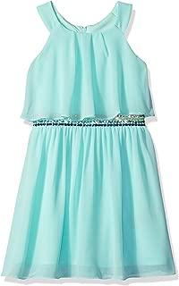 Girls' Halter Popover Dress with Decorative Trim at Waist