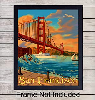 Golden Gate Bridge Unframed Photo - Vintage Wall Art Print - Makes a Great Gift - Chic Home Decor - Ready to Frame (8x10)