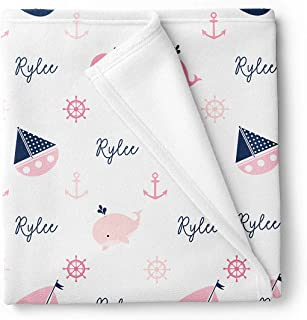 Lovable Gift Co Personalized Nautical Fleece Baby Girl Blanket, Navy and Pink