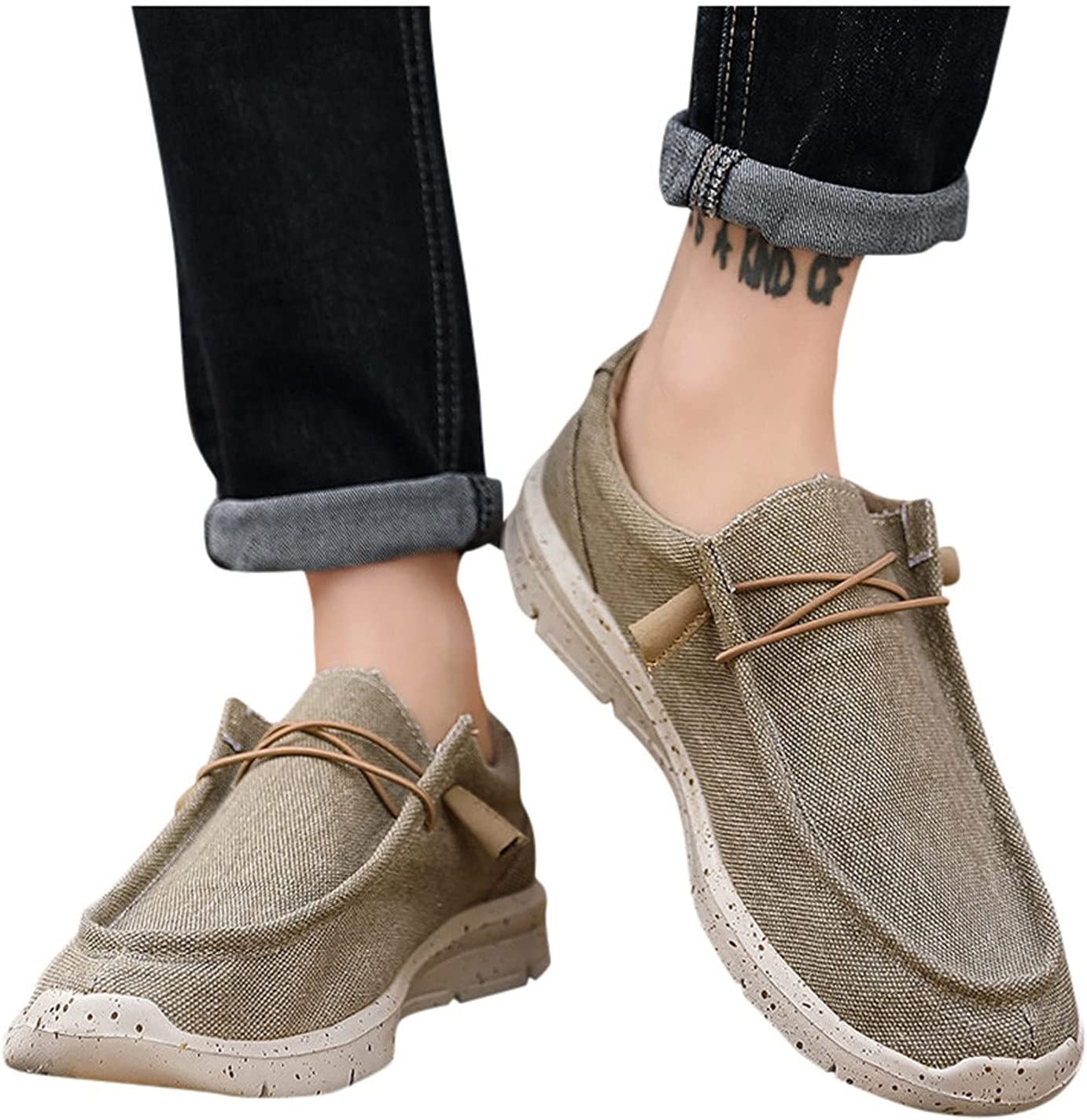 Men Outdoor Flats Loafers Breathable Comfortable Lightweight Sneakers Slip On Shoe Summer Lace-Up Sneaker