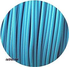 Cable eléctrico de tela trenzada de 0,75 mm, 3 núcleos, color azul claro, 10 metros