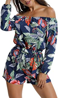MISS MOLY Rompers and Jumpsuits for Women Long Sleeves Off The Shoulder Jumpsuit Summer Casual Playsuit w Belt
