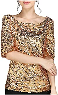 RkBaoye Women Baggy Style Sequin Plus Size Leisure Half Sleeve Tees Shirt