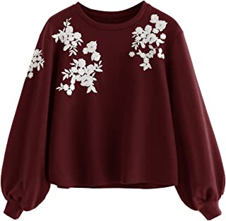 Women's Loose Embroidery Lantern Sleeve Pullover Sweatershirts