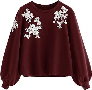 Romwe Women's Loose Embroidery Lantern Sleeve Pullover Sweatershirts