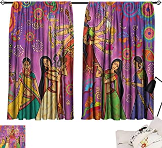 Yellow Curtains Bengal,Asian Woman in Colorful Dress Cartoon Style Figures on Paisley and Flower Backdrop, Multicolor 72