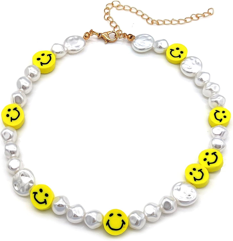 Y2k Fashion Pearls Strand Smiley Face Pearl Choker Necklace Irregular Pearl Cute Summer Y2K Collar for Teen Girls Women