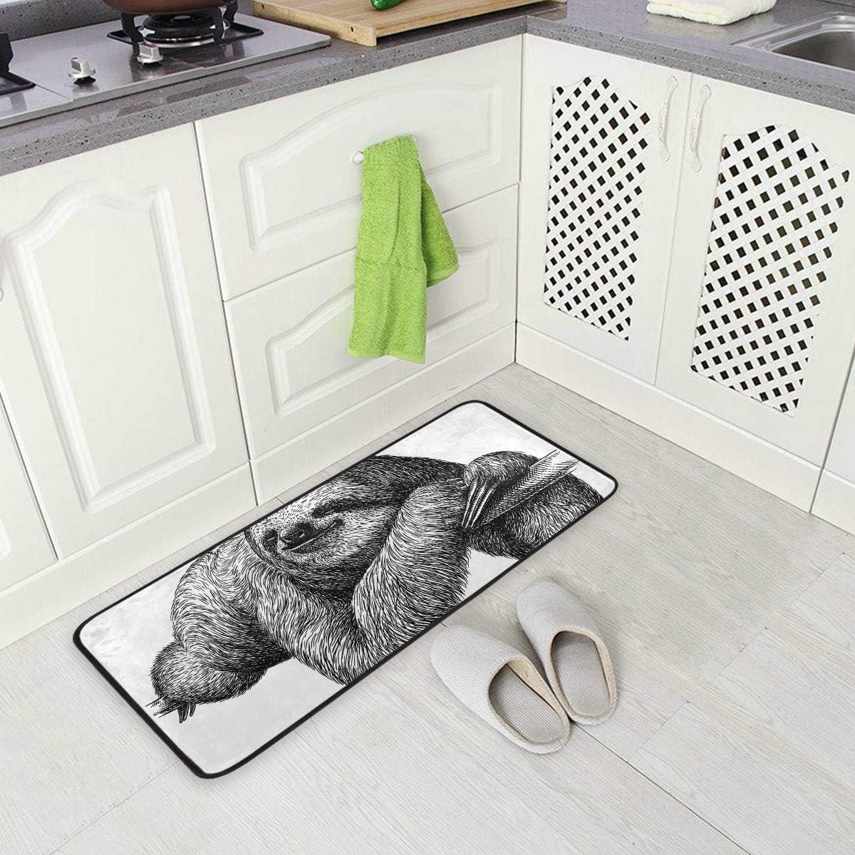 Sloth Kitchen Floor Mat Door Mats Inside Outside Front Doormat Non Slip  Kitchen Rug for Home, 9