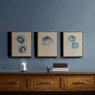 Madison Park Blue Print Botanicals Wall Art - Painted Linen Canvas Home Décor, Abstract Stretched 3 Piece Set Painting for...