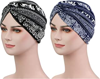 2 Pieces Premium Pre Tied Hair Turban – Pattern Printing Pleated Twist Headwraps for Women