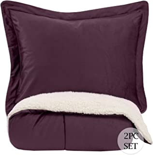 Sweet Home Collection Comforter Set 2 Piece Sherpa Soft and Luxurious Plush All Season Warmth Down Alternative Reversible to Solid Color with 1 Sham, Twin, Purple