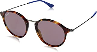 RB2447 Round Fleck Sunglasses, Red Havana/Polarized Violet, 52 mm