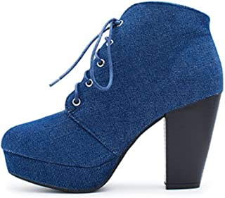 d0704c426 Forever Camille-86 Women s Comfort Stacked Chunky Heel Lace Up Ankle Booties