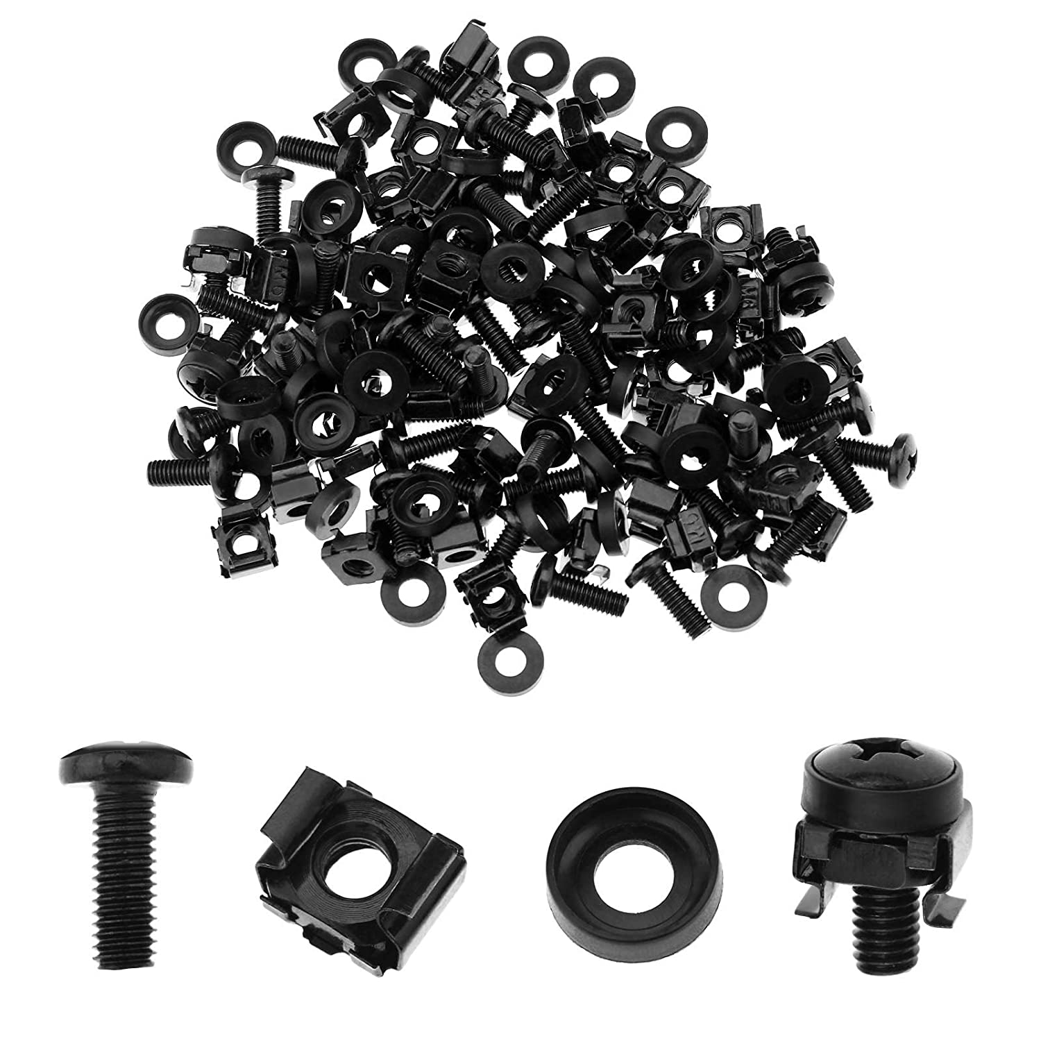 50 Pack M6 Cage Nuts and Bolts Screws Washers Network Cabinets Server Rack Mount Patch Panel Casing Housing
