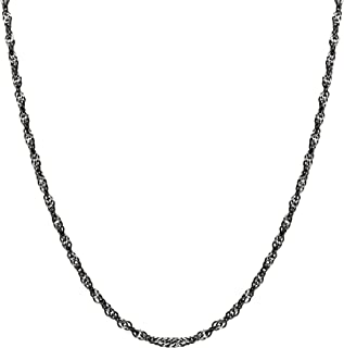 925 Sterling Silver Black Rhodium TT Singapore Chain Necklace 18