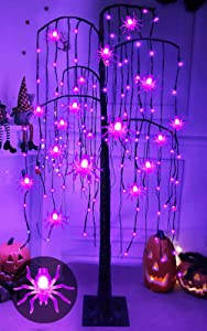 TURNMEON 5 Ft High Halloween Willow Twigs Tree with Timer 24 Spider Lights 108 Purple LED Glitter Artificial Tree Scary Ornaments Halloween Decoration Indoor Outdoor Yard Garden Home(Plug in/4 Stakes)