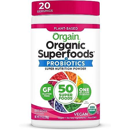 Orgain Organic Green Superfoods Powder, Berry - Antioxidants, 1 Billion Probiotics, Vegan, Dairy Free, Gluten Free, Kosher, Non-GMO, 0.62 Pound (Packaging May Vary).