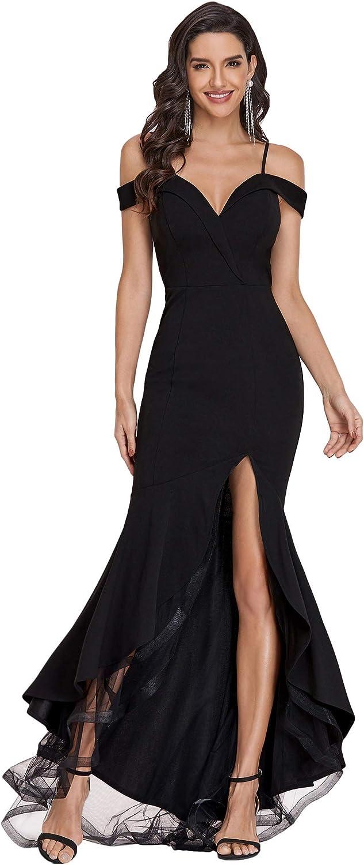 Ever-Pretty Womens Off The Shoulder V Neck Side Split High Low Formal Dress 0220