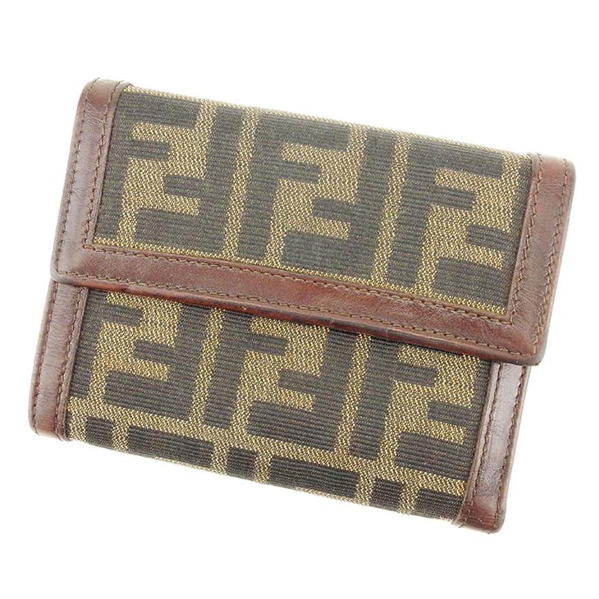 慣性ミント即席(フェンディ) FENDI 三つ折り 財布 レディース メンズ ズッカ 中古 Q539