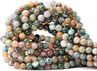 CHEAVIAN 60PCS 6mm Natural Indian Agate Gemstone Round Loose Beads for Jewelry Making DIY 1 Strand 15