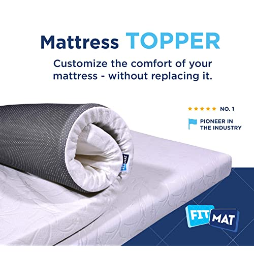 FITMAT Memory Foam White Mattress Topper with Cover(35x75x2-inch)