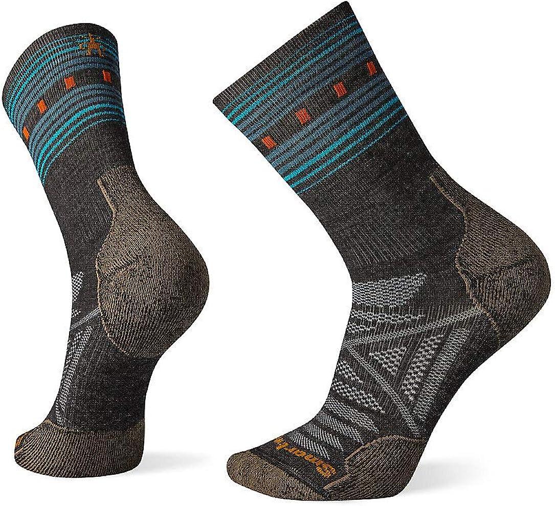 Smartwool Men's PhD Outdoor Pattern Crew Light Merino Wool Socks, Charcoal