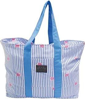 Equine Couture Stripe Whales Tote Bag (Light Blue)