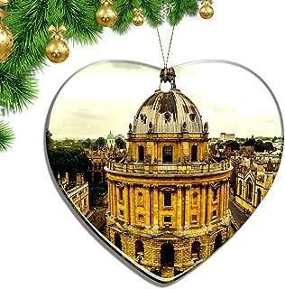Hqiyaols Ornament UK England University of Oxford Christmas Ornaments Ceramic Sheet Souvenir City Travel Pendant Gift Tree Door Window Ceiling Decoration Collection