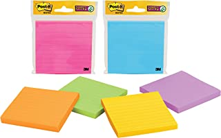 Post-it Super Sticky Notes Assorted Bright Colours Lined 101 x 101mm 4490-SSMX