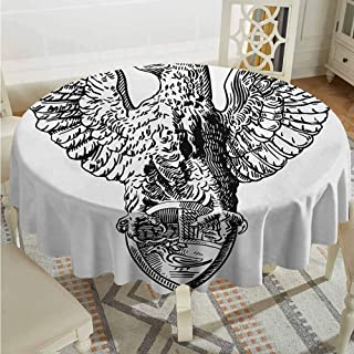 ScottDecor Garden Round Tablecloth Vintage Italian Rome Heraldry Eagle Statue Pattern European Empire Heritage Culture Print Black White Wrinkle Free Tablecloths Diameter 36