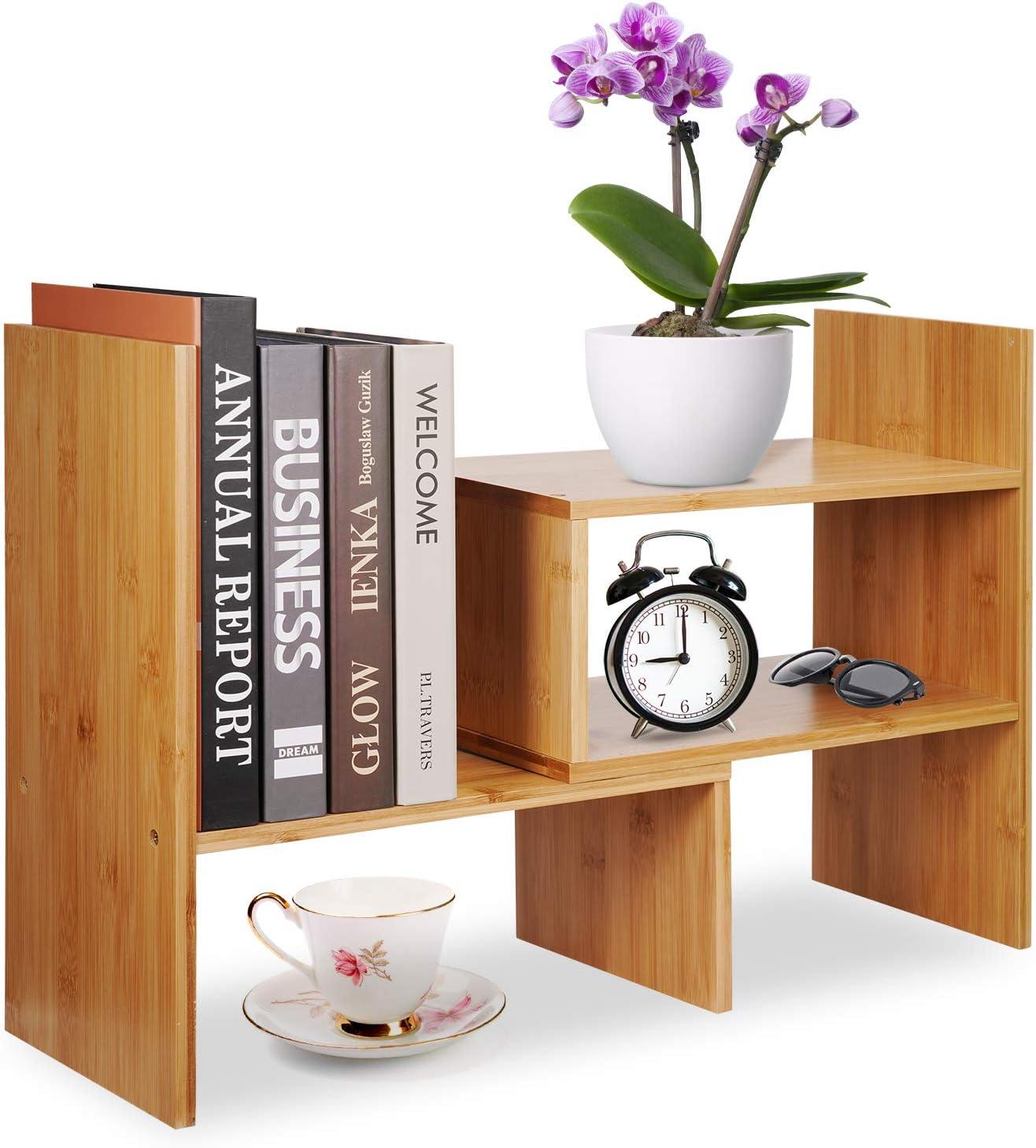 Adjustable Virginia Beach Mall Challenge the lowest price Natural Wood Desktop Bookshelf Bamboo Or Desk Storage