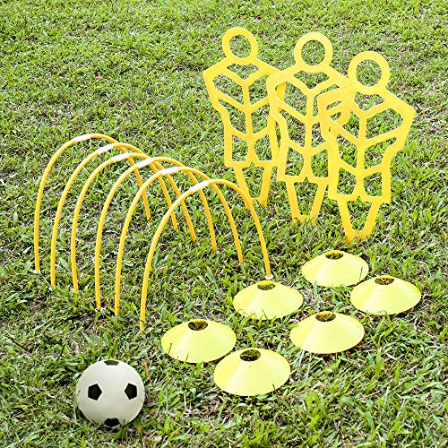 A11N Soccer Training Set- Includes 3 Training Mannequins, 6 Passing Arcs, 6 Disc Cones, 1 Mini Soccer Ball and Pump, 1 Drawstring Bag, for Kids Ages 5-7 Multifunctional training