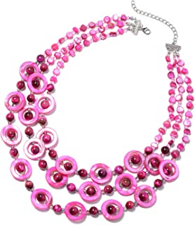 Shop LC Delivering Joy Fuchsia South Tigers Eye Necklace 20