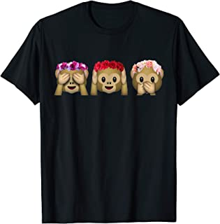 Tres flores de monos emoji Escuchar Hablar Ver Ningún Mono M Camiseta