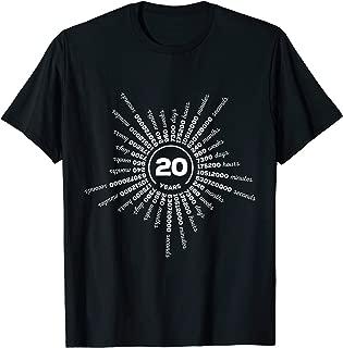 20 Years Wedding Anniversary Shirt Counting Days Minutes Sec