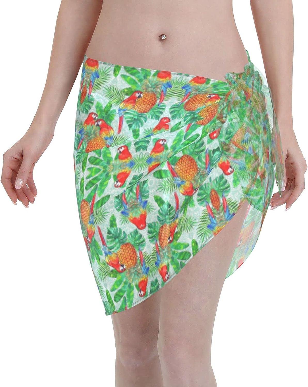 IGYoh Summer Tropical Parrots Chiffon Beach Sarong Women Short Cover ups Beach Swimwear Wrap Skirt Black