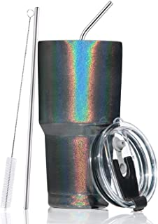 30oz Stainless Steel Insulated Sparkle Black Tumbler Travel Mug with Straw Slider Lid, Cleaning Brush, Double Wall Vacuum