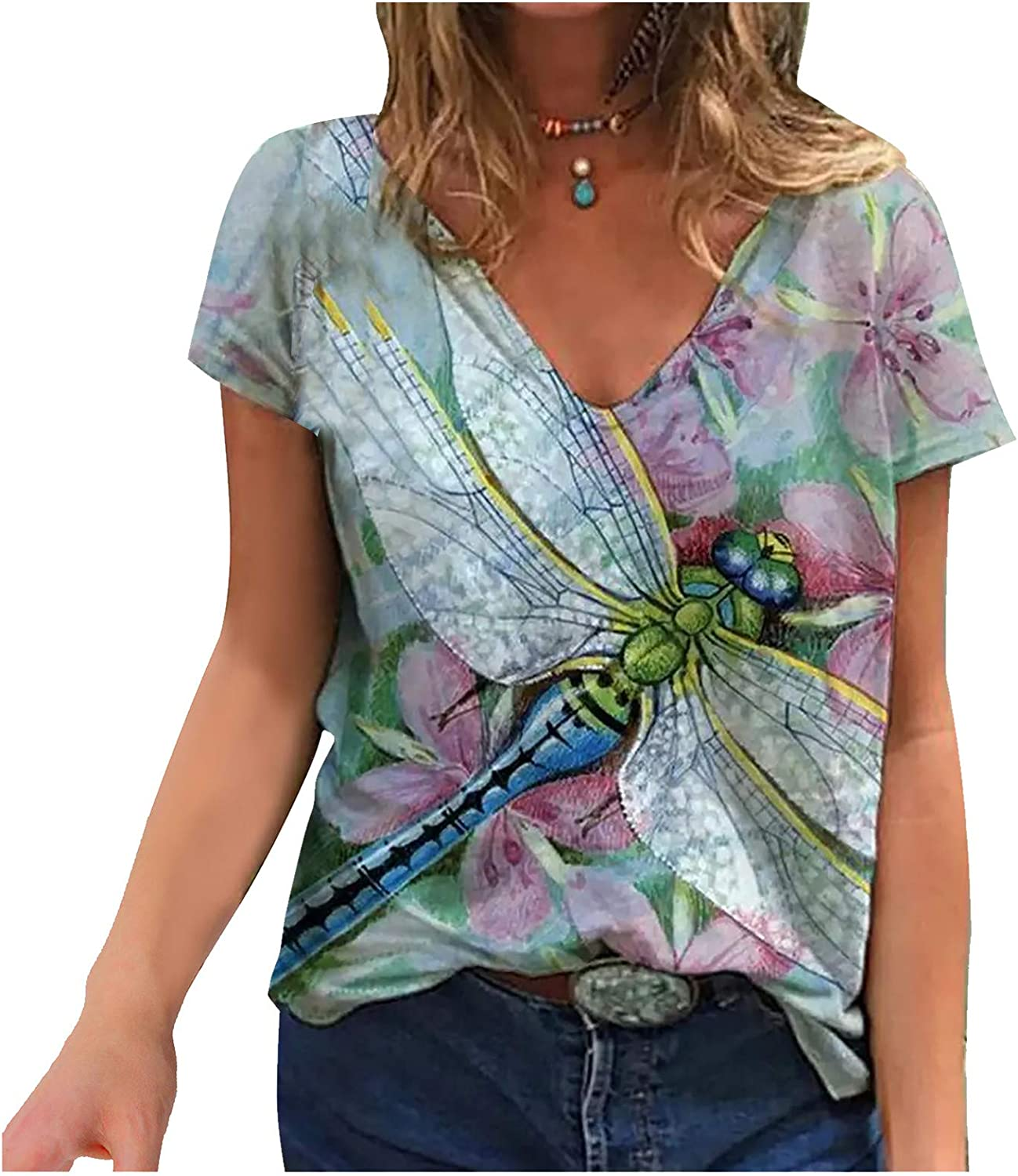 Womens Tshirts,Women Short Sleeve Shirt Flower Graphic Tie Dye Tees Casual Summer Tops Comfy V Neck Blouse