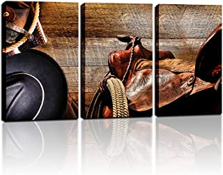 Canvas Wall Art for Men Bedroom Western Cowboy Wall Decor American Western Art Cowboy Hat Boots West Rodeo Vintage Picture Prints Stretched Artwork for Home Office Living Room