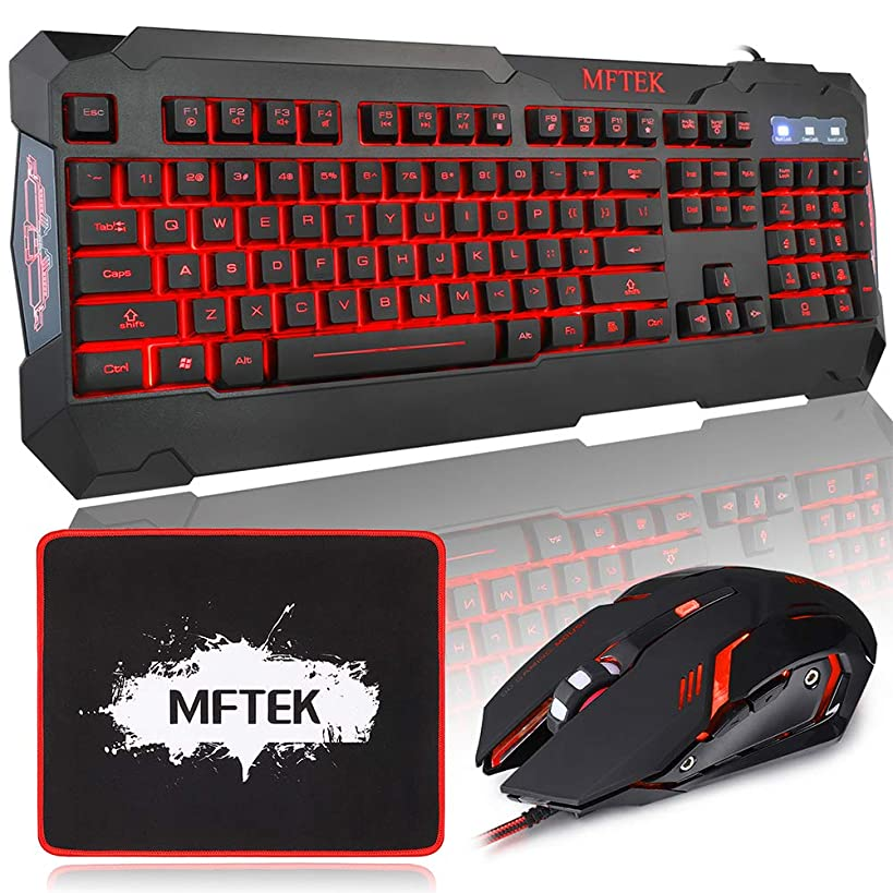 MFTEK Gaming Keyboard and Gaming Mouse Combo, USB Wired 104 Keys Keyboard, 3 Colors Red Blue Purple Backlit Gaming Keyboard, 6 Programmable Button Mouse + Mouse Pad for Computer PC Gamer Office