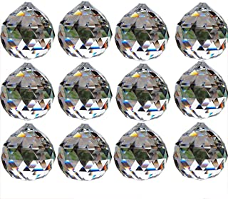 Yoker 30mm Clear Crystal Ball Prisms Pendant Feng Shui Suncatcher Decorating Hanging Faceted Prism Balls (12PCS X 30mm Clear)
