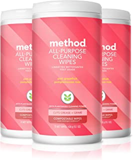 Method All-purpose Cleaning Wipes, Pink Grapefruit, 70 Count (Pack of 3)