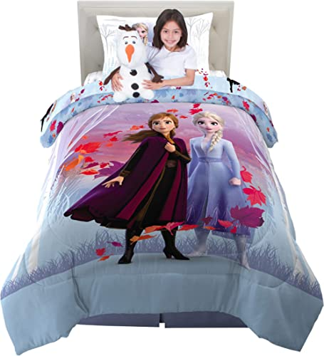 Franco Kids Bedding Super Soft Comforter with Sheets and Plush Cuddle Pillow Set, 5 Piece Twin Size, Disney Frozen 2