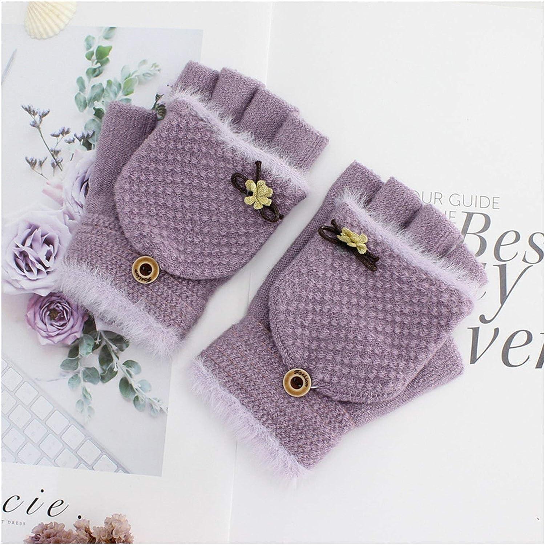 JBIVWW Women Winter Knitted Flip Gloves Thicken Warm Flip Gloves Girls Soft Elastic Flocking Half-Finger Gloves (Color : 03, Gloves Size : One Size)